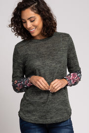 Olive Floral Long Sleeve Top