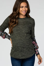 Olive Floral Long Sleeve Maternity Top