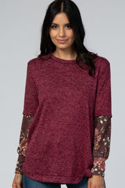 Burgundy Floral Long Sleeve Top