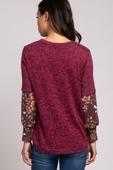 Burgundy Floral Long Sleeve Maternity Top