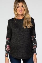 Black Floral Long Sleeve Maternity Top