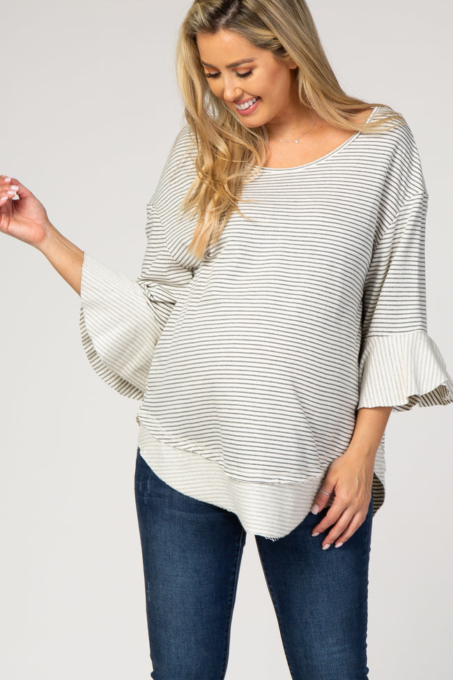 Grey Striped Bell Sleeve Maternity Top
