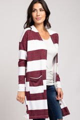 Burgundy Striped Button Front Cardigan