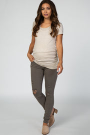PinkBlush Olive Distressed Maternity Skinny Jeans