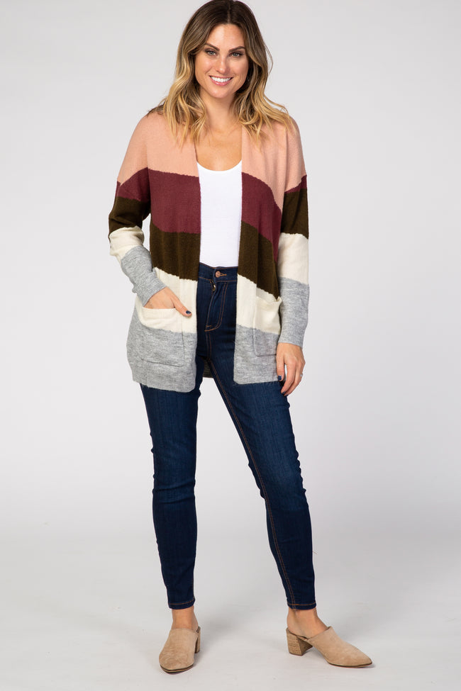 Cream Colorblock Soft Knit Cardigan