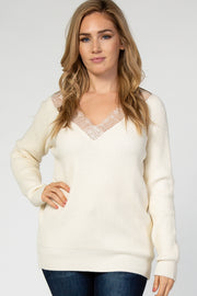 Ivory Ribbed Lace Trim Maternity Sweater