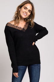 Black Ribbed Lace Trim Sweater