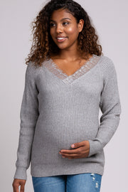 Grey Ribbed Lace Trim Maternity Sweater