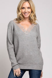 Grey Ribbed Lace Trim Sweater