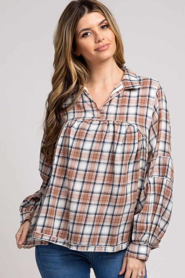 Mocha Plaid Babydoll Hi-Low Maternity Top