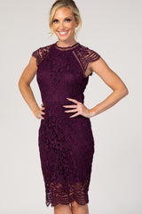Purple Crochet Scalloped Hem Fitted Dress