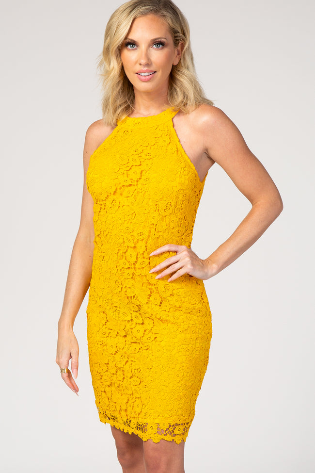 Yellow Lace Halter Neck Dress