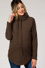 Brown Cowl Neck Maternity Sweater