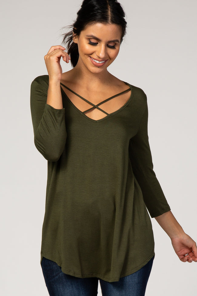 Olive Cross Front 3/4 Sleeve Top