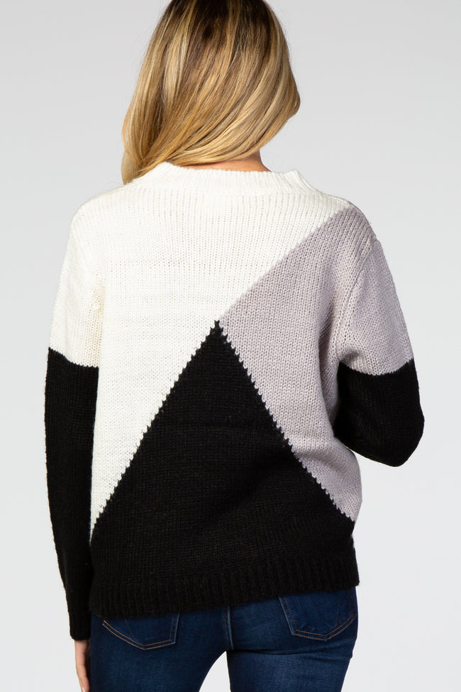 Black Colorblock Knit Maternity Sweater