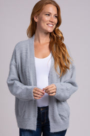 Grey Solid Fuzzy Pocket Cardigan