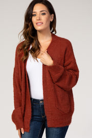 Burgundy Solid Fuzzy Pocket Cardigan