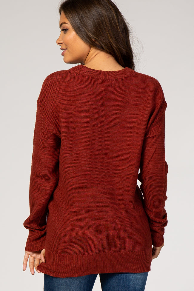 Rust Solid Maternity Sweater