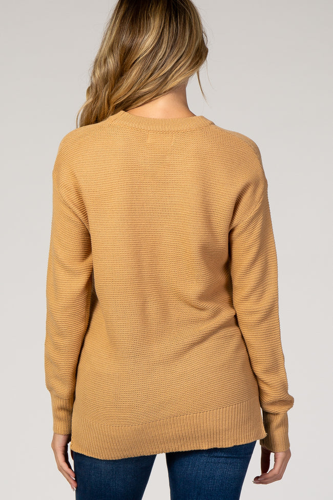 Camel Solid Maternity Sweater