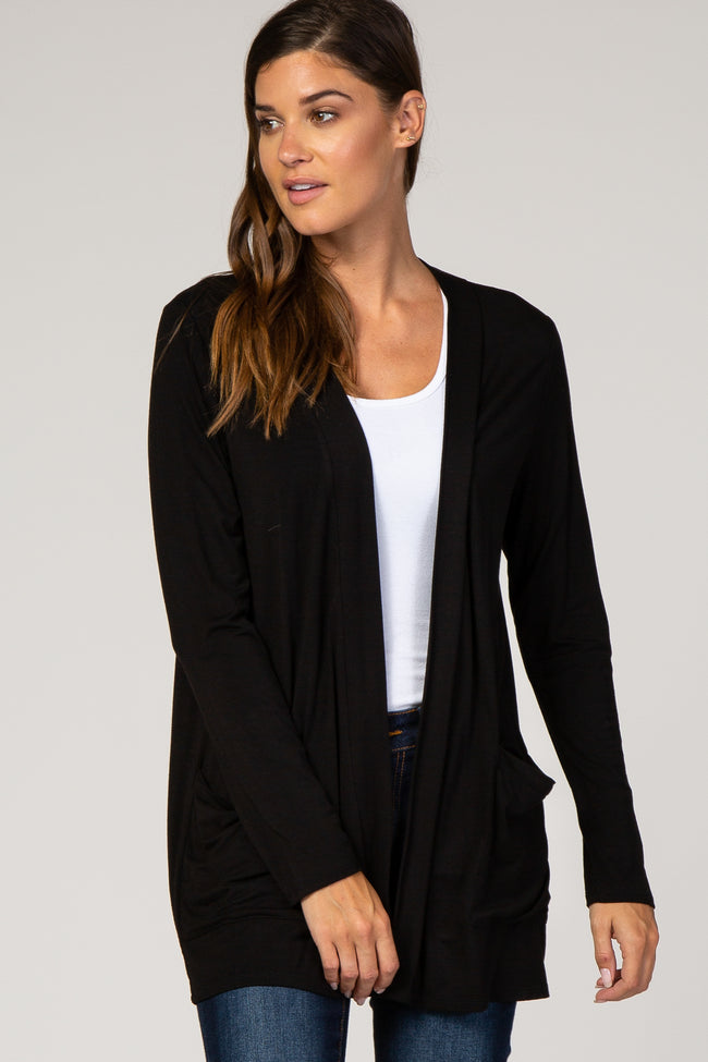 Black Solid Pocket Maternity Cardigan