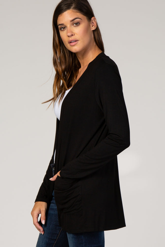Black Solid Pocket Cardigan