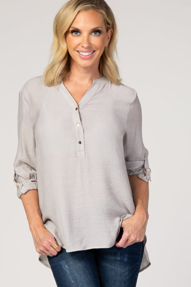Grey Button Down High Low Maternity Top