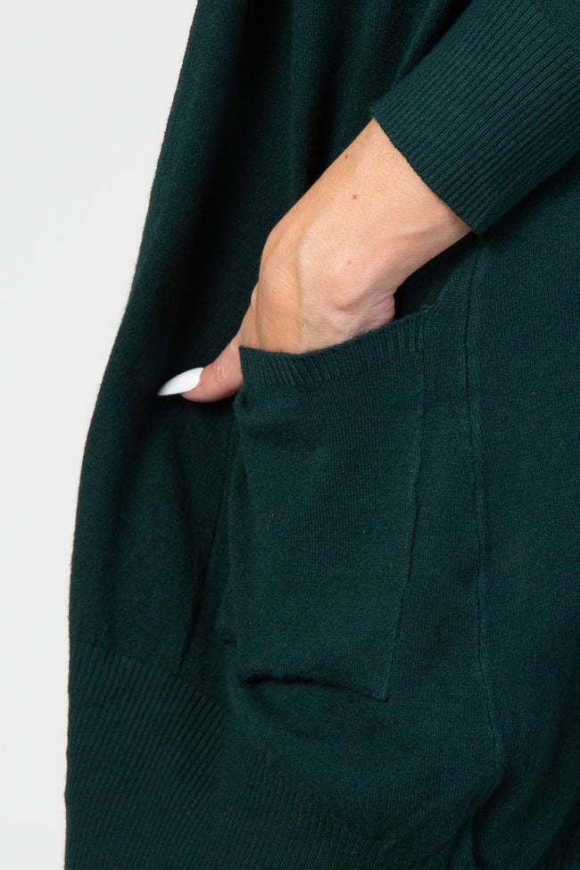 Forest Green Solid Cardigan