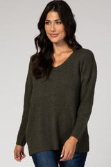 Olive Ribbed Slouchy Knit Maternity Sweater