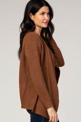 Rust Solid Draped Long Sleeve Cardigan