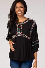 Black Floral Embroidered 3/4 Puff Sleeve Maternity Blouse