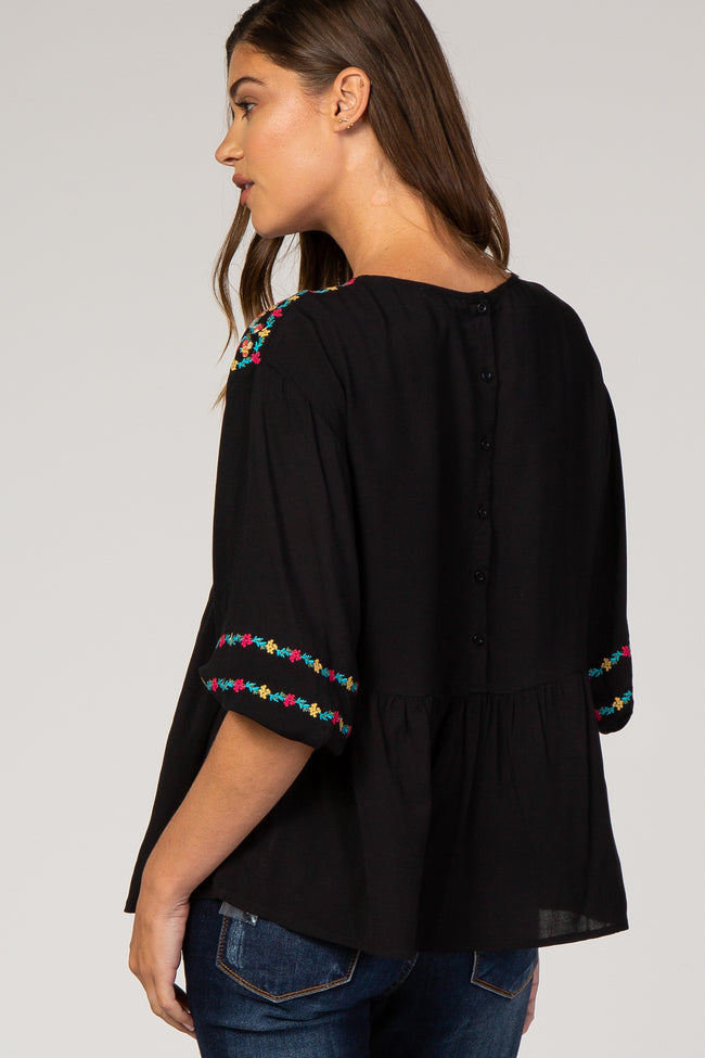 Black Floral Embroidery 3/4 Puff Sleeve Blouse