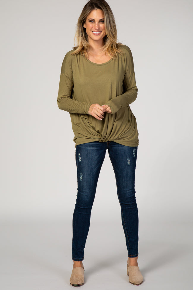 Olive Long Draped Hem Long Sleeve Top