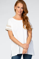White Colorblock Short Sleeve Maternity Top