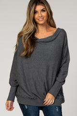 Charcoal Boat Neck Dolman Maternity Top