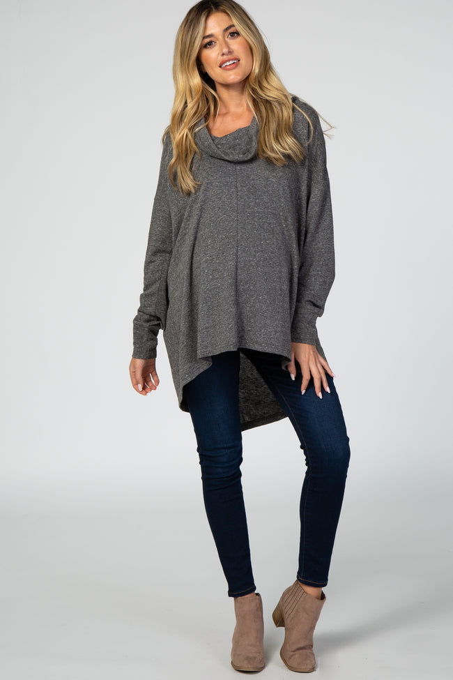 Charcoal Cowl Neck Hi-Low Long Sleeve Maternity Top