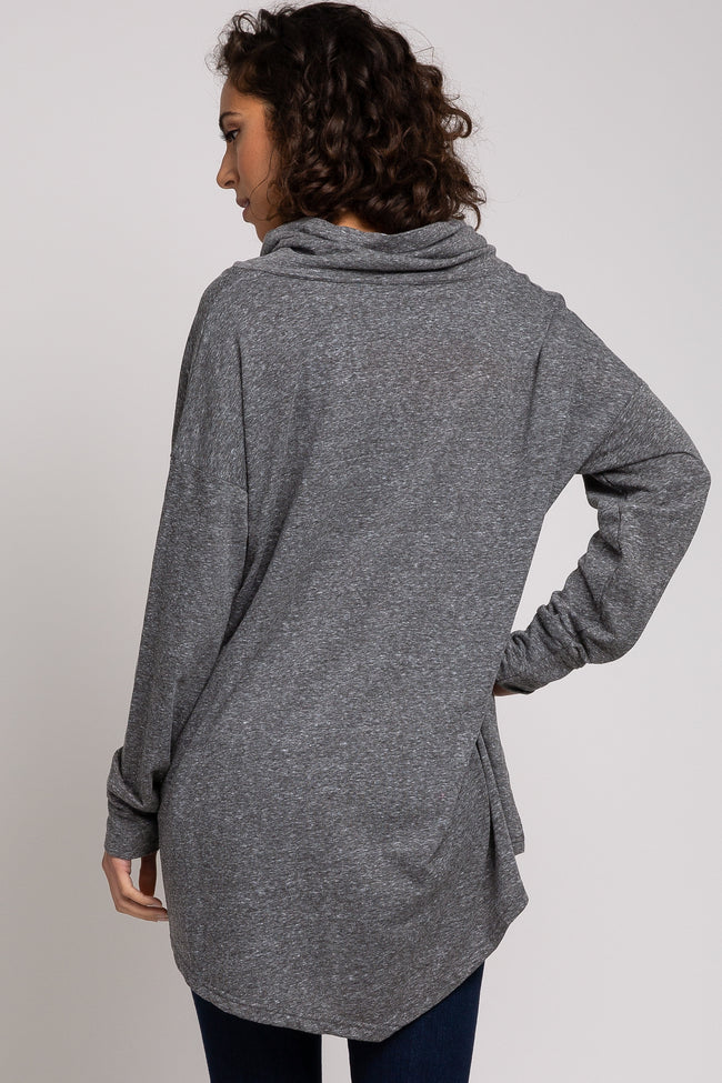 Charcoal Cowl Neck Hi-Low Long Sleeve Top
