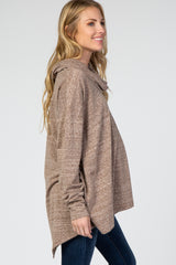 Mocha Cowl Neck Hi-Low Long Sleeve Maternity Top