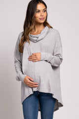 Grey Cowl Neck Hi-Low Long Sleeve Maternity Top