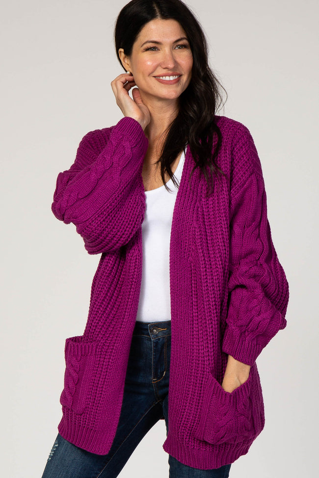 Magenta Cable Knit Bubble Sleeve Maternity Cardigan