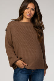 Brown Bubble Sleeve Knit Maternity Sweater