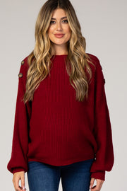 Burgundy Bubble Sleeve Knit Maternity Sweater
