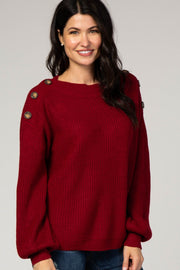 Burgundy Bubble Sleeve Knit Sweater