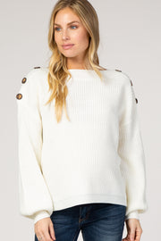 Cream Bubble Sleeve Knit Maternity Sweater