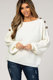Cream Bubble Sleeve Knit Sweater