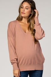 Mauve Dolman Sleeve Knit Maternity Top