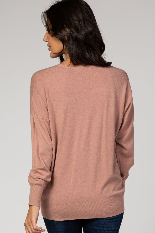 Mauve Dolman Sleeve Knit Top
