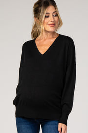 Black Dolman Sleeve Knit Maternity Top
