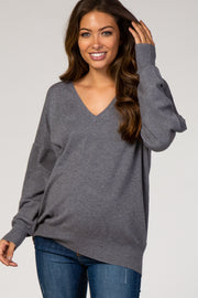 Grey Dolman Sleeve Knit Maternity Top