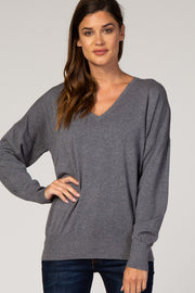 Grey Dolman Sleeve Knit Top