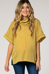 Mustard Waffle Knit Cowl Neck Maternity Top